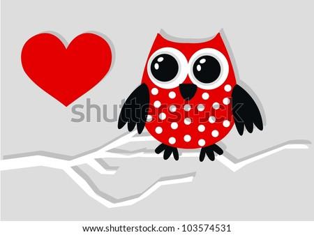 celebration or invitation owl love - stock vector