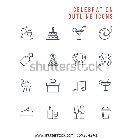 Celebration Outline Icons