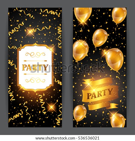 Celebration party background with golden balloons and serpentine. Greeting, invitation card or flyer.