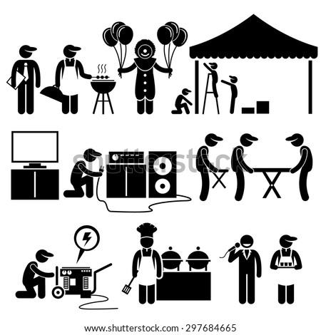Celebration Party Festival Event Services Stick Figure Pictogram Icons - stock vector
