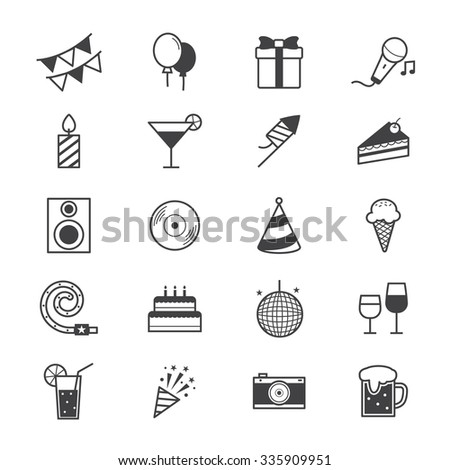 Celebration Party Icons Line - stock vector