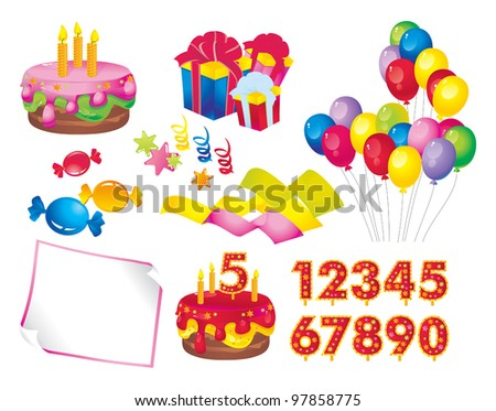 celebration set: a cake with candles, gift boxes, balloons, candy, stars, ribbons, paper, figures for dates - stock vector