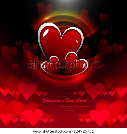 Celebration valentines day hearts bright colorful card vector illustration