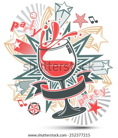 Celebrative leisure backdrop with musical notes, glass goblet with wine and decorative stars. Graphic festive splash poster with design elements easy to use separately. - stock vector