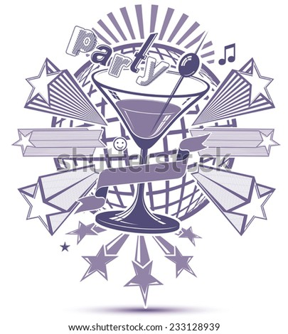 Celebrative leisure monochrome backdrop with musical notes and salute - lounge theme poster. Glass martini goblet placed over earth symbol. Design elements easy to use separately. - stock vector
