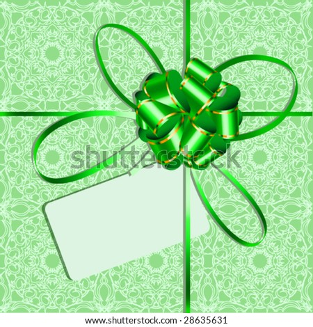Celebratory packing with green bow and card