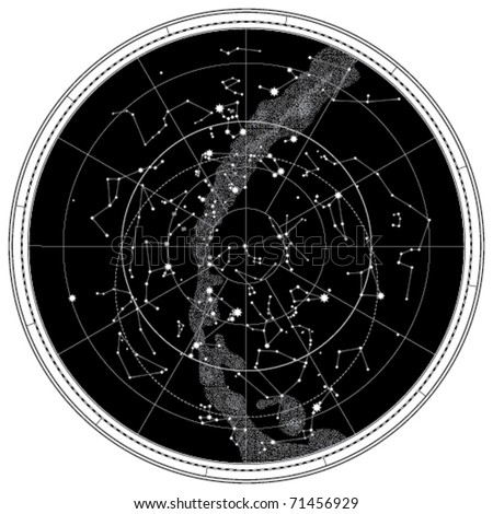 Celestial Map of The Night Sky. Astronomical Chart of Northern Hemisphere (EPS-8) - stock vector