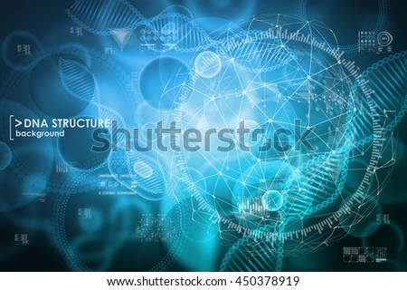 Cell and DNA background with interface elements. HUD UI for medical app. Molecular research. - stock vector