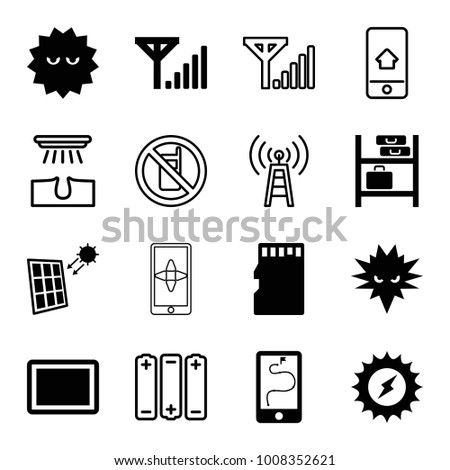 Cell icons. set of 16 editable filled and outline cell icons such as bacteria, solar energy, tablet, memory card, solar panel, mobile signal, no phone, hair removal