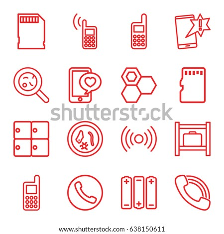 Cell icons set. set of 16 cell outline icons such as luggage storage, honey, phone, bacteria, phone with heart, call, memory card, battery, microorganism, important message