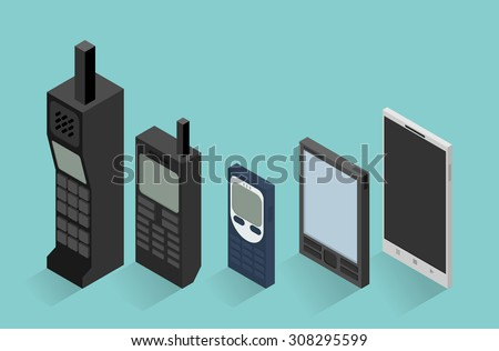 Cell phone evolution illustration - stock vector
