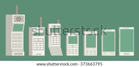Cell phone evolution illustration. Flat vector. - stock vector