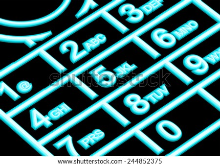 cell phone night. lighted cell phone keypad - stock vector