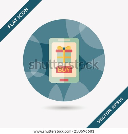 cell phone online shopping flat icon with long shadow,eps10 - stock vector