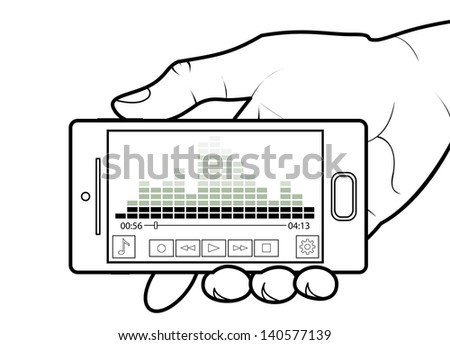 Cell Phone Showing a Music Player - stock vector