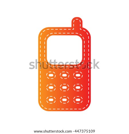 Cell Phone sign. Orange applique isolated.