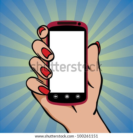 Cell phone (smartphone with touchscreen) in female hand vector drawing - stock vector