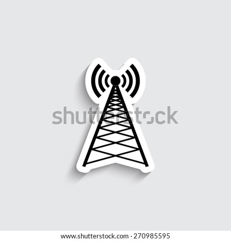 Cell Phone Tower - vector icon - stock vector