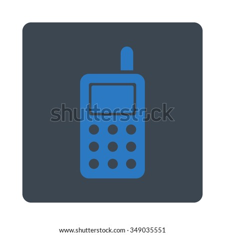 Cell Phone vector icon. Style is flat rounded square button, smooth blue colors, white background.