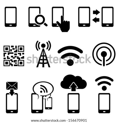 Cell phone, wireless, mobile and wifi icon set - stock vector