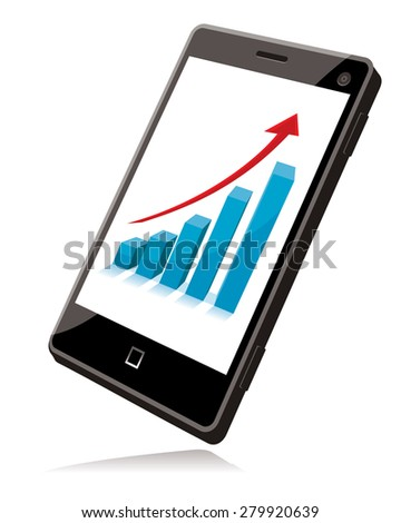 cell phone with business chart