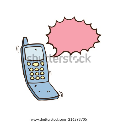 cell phone with talking bubble cartoon - stock vector