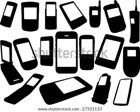 Cell phones silhouettes - stock vector
