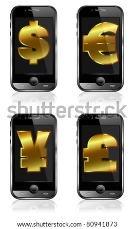 Cell Smart Phone - Tap and Go, Pay by Mobile, cashless system of payment and mobile tariff concept with money symbols - stock vector