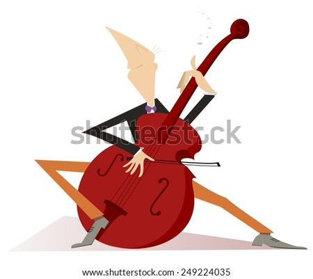 Cellist is playing music with inspiration - stock vector
