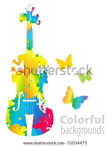 cello, violoncello color background - stock vector