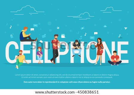 Cellphone concept illustration of young people using smartphones for social networking and websites usage. Flat design of guys and young women standing near big letters with social media symbols - stock vector