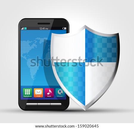 Cellphone security, safety concept - stock vector