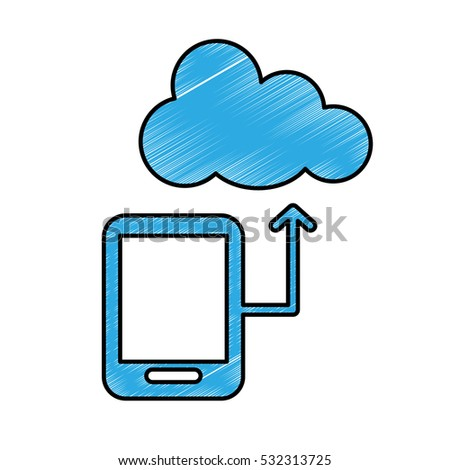 cellphone with cloud storage icon image vector illustration design