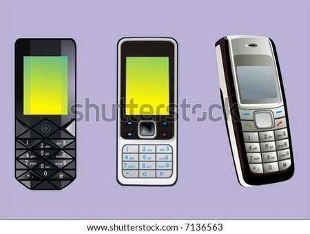 Cellphones - stock vector