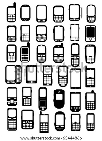Cellphones and smartphones icons in vectors - stock vector