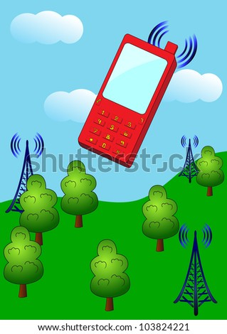 Cellular telephone and radio stations send signals to each other in countryside. Vector illustration
