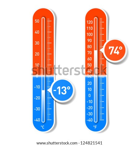 Celsius and Fahrenheit thermometers. Vector. - stock vector