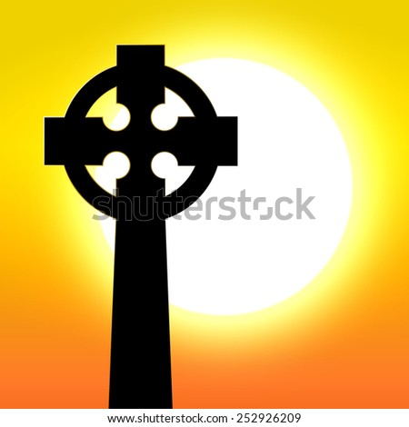 Celtic cross in front of sunset - stock vector
