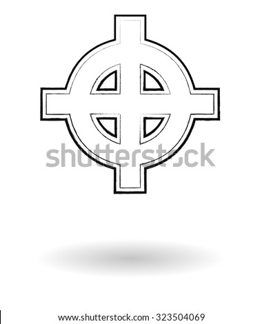 Celtic cross sketch vector illustration, cross silhouette isolated over white background - stock vector