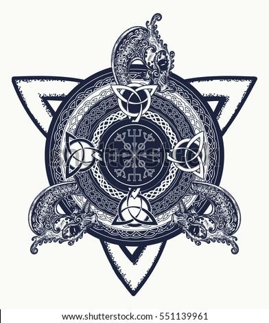 Celtic Cross Tattoo Art Tshirt Design Stock Vector Royalty Free