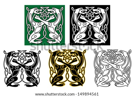 Celtic dogs and wolves with ornament elements. Jpeg version also available in gallery - stock vector