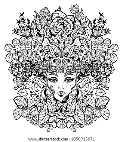 Celtic Fairy Green Elf Shaman Woman With The Crown Of Leaves Flowers Forest