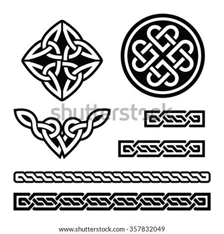 Celtic Irish patterns and braids - vector, St Patrick's Day - stock vector