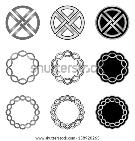 Celtic Knot Elements, Models and Templates - stock vector