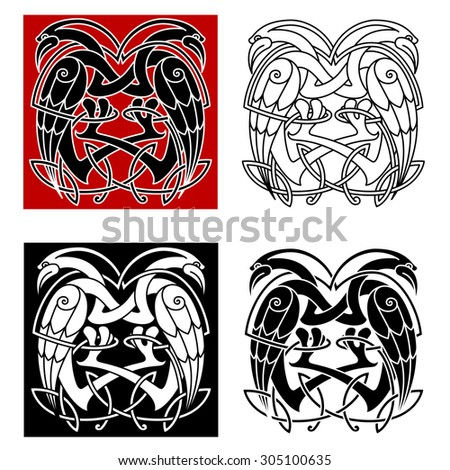 Celtic knot ornamental birds with intricate twisted necks decorated celt ethnic patterns for medieval embellishment or totem animal design - stock vector