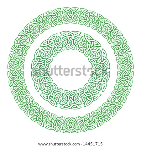 Celtic knot rings or wreath design elements. Two different formats one simple and one more complex. - stock vector