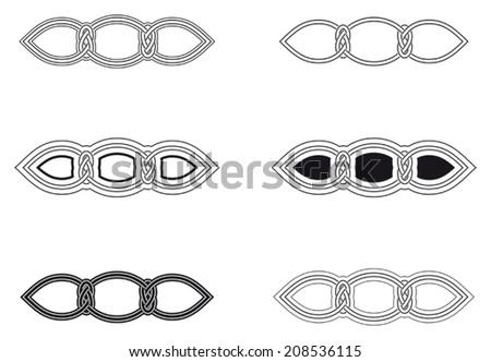 Celtic knot six different arrangements - stock vector