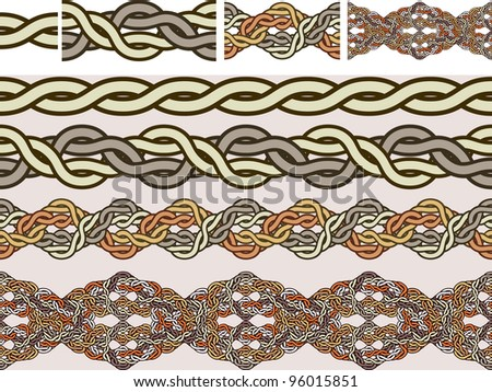 Celtic national ornaments of weaving in a vector for brushes - stock vector