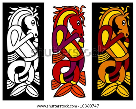 Celtic ornament element with horse - stock vector