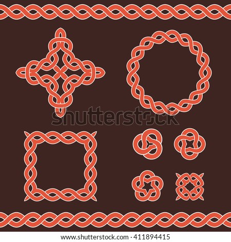 Celtic ornamental design elements. Vector illustration. - stock vector